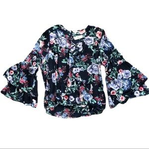 Charming Charlie Blue Floral Crossover Blouse
